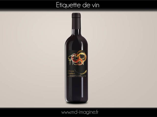 création graphisme, étiquette vin dorure, graphiste 47