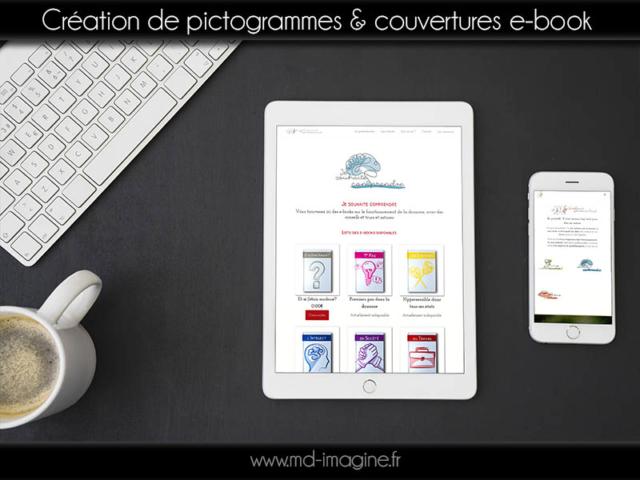 créationde pictogrammes, couverture e-book. Graphisme