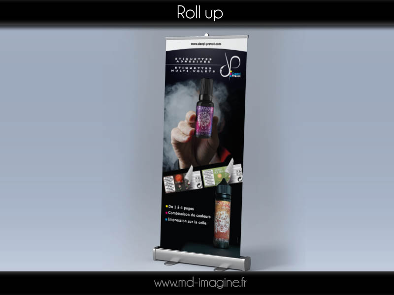 roll-up produit, stand, Marmande, graphiste